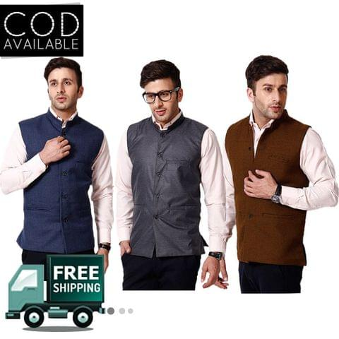 KP Men's Set of 3 Solid Nehru Jacket