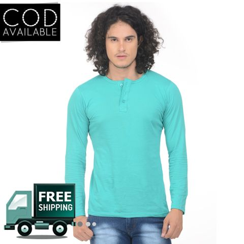 K-west Men's Light Green Solid Henley T-Shirt
