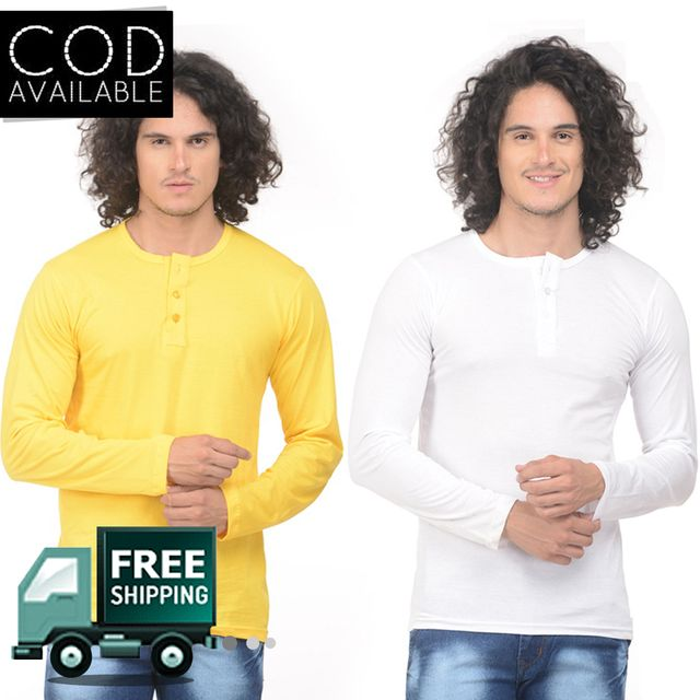 K-west Pack of 2 Men's Mulitcolor Solid Henley T-Shirt
