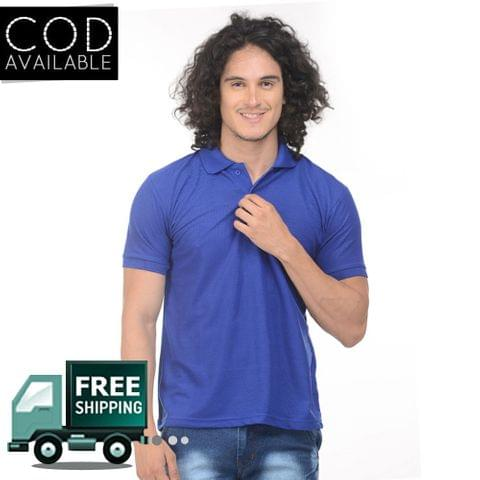 K-west Men's Blue Solid Polo T-Shirt