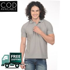 K-west Men's Dark Grey Solid Polo T-Shirt