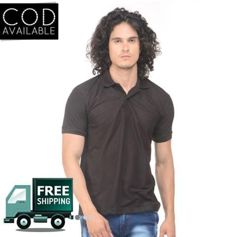 K-west Men's Black Solid Polo T-Shirt