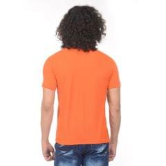 K-west Men's Orange Solid Polo T-Shirt