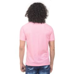 K-west Men's Pink Solid Polo T-Shirt