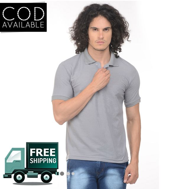 K-west Men's Grey Solid Polo T-Shirt