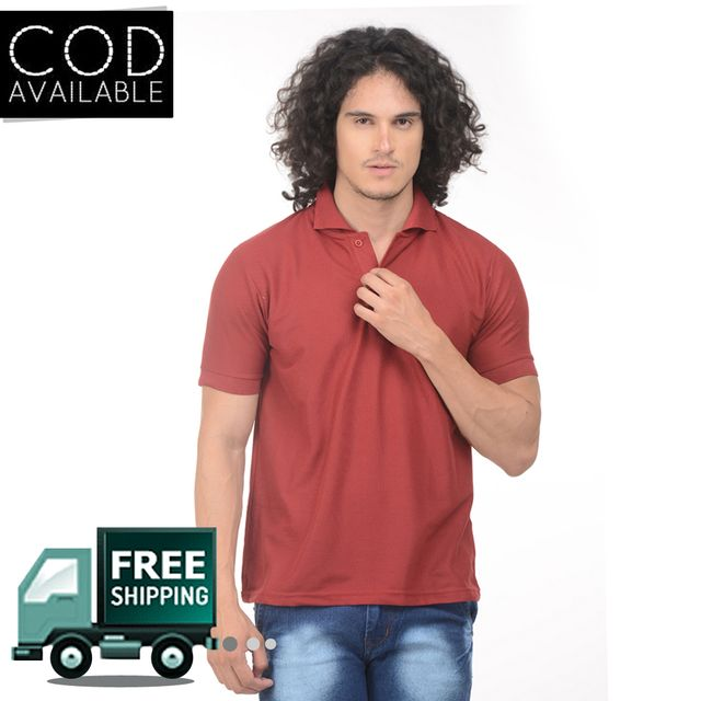 K-west Men's Maroon Solid Polo T-Shirt