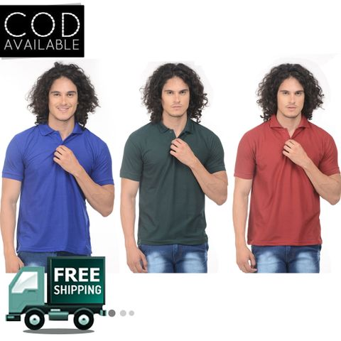 K-west Men's Combo of 3 Mulitcolor Solid Polo T-Shirt