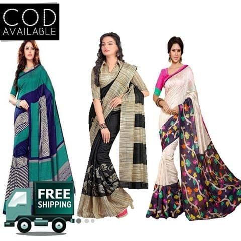 Vamika Combo of 3 Multicolor Printed Bhagalpuri Saree