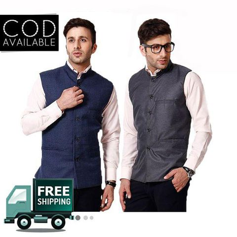KP Men's Solid Pack of 2 Nehru Jacket
