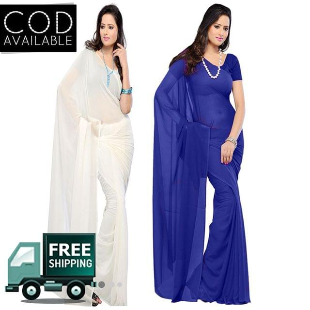 Vamika Combo Of 2 Faux Georgette Plain Saree