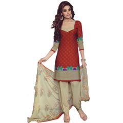 Vishnu Maroon-Cream Color Crepe Printed Salwar Suit