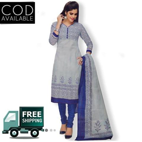 Vishnu Grey-Blue Color Pure Cotton Unstitched Salwar Suit