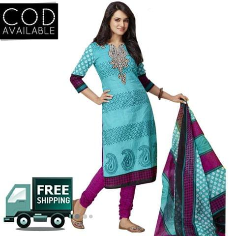 Vishnu Aqua Blue Color Pure Cotton Printed Salwar Suit