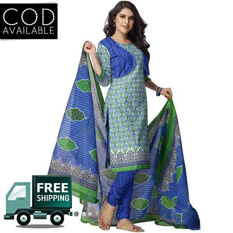 Vishnu Blue-Green Color Pure Cotton Unstitched Salwar Suit