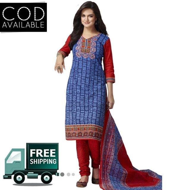 Vishnu Blue-Red Color Pure Cotton Unstitched Salwar Suit