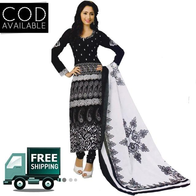 Vishnu Black Color Pure Cotton Salwar Suit