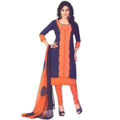 Vishnu Orange Color Crepe Printed Salwar Suit