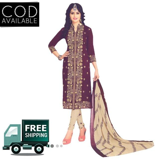Vishnu Brown Color Crepe Printed Salwar Suit