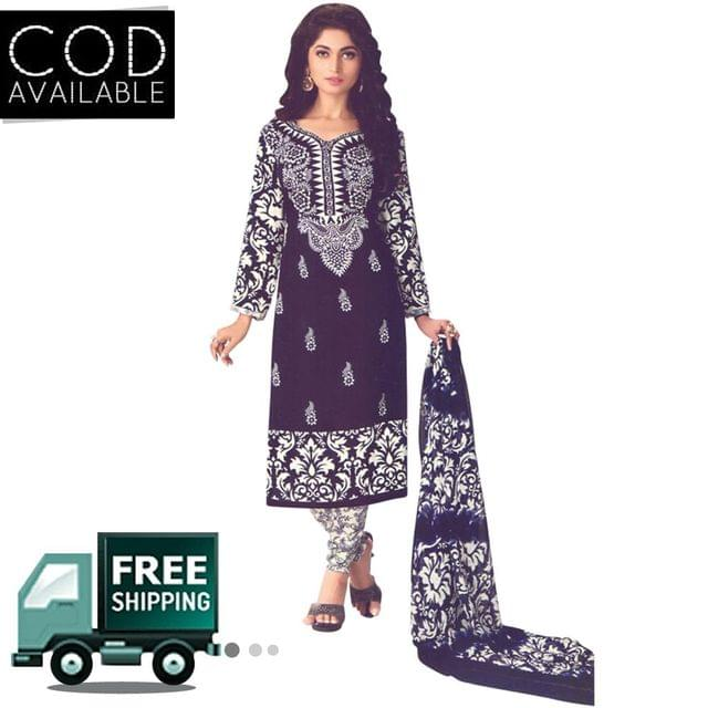Vishnu Blue Color Crepe Printed Salwar Suit