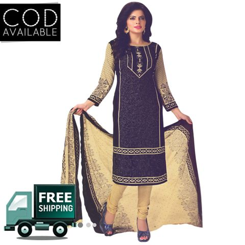 Vishnu Black Color Crepe Printed Salwar Suit