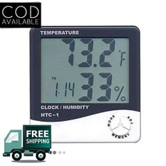 HTC-1 Digital LCD Thermometer Temperature Humidity Meter With Clock Calendar Alarm