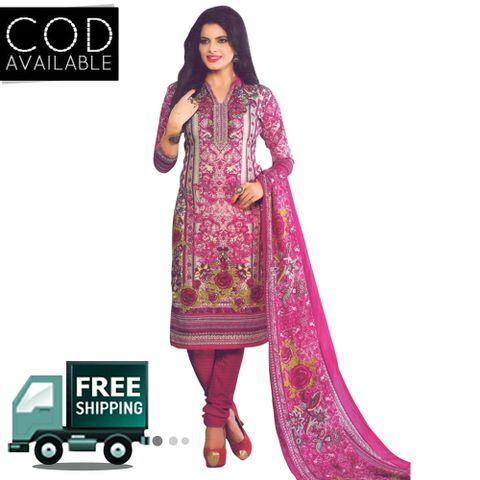 Vishnu Pink Color Crepe Printed Salwar Suit Dress Material