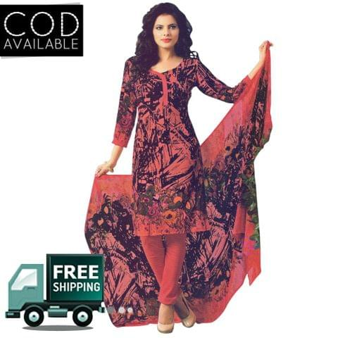Vishnu Red Color Crepe Printed Salwar Suit Dress Material