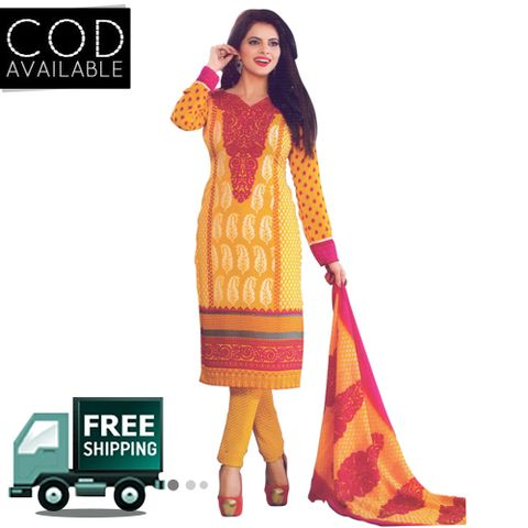 Vishnu Multicolor Crepe Printed Salwar Suit Dress Material