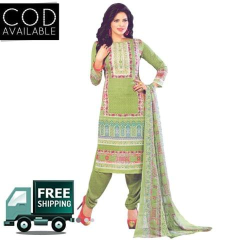Vishnu Green Color Crepe Printed Salwar Suit Dress Material