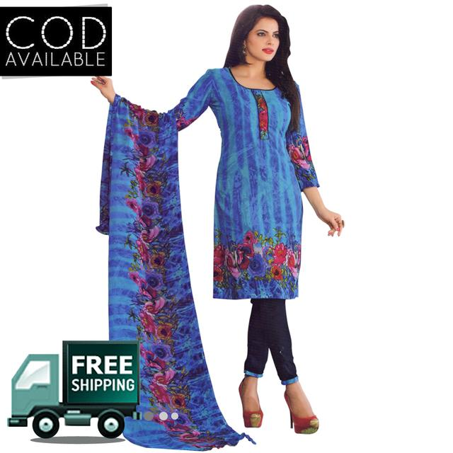 Vishnu Blue Color Crepe Printed Salwar Suit Dress Material