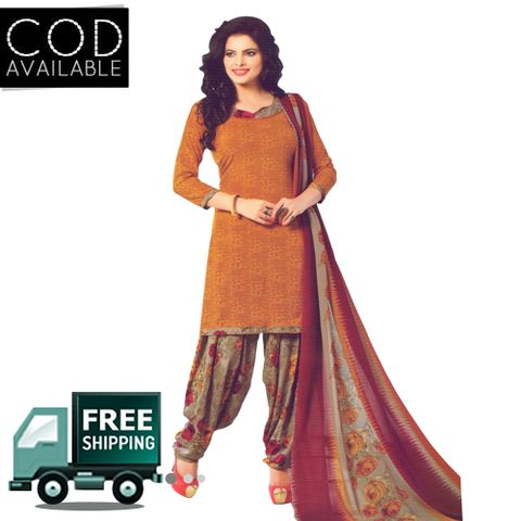 Vishnu Solid Light Brown Color Crepe Printed Salwar Suit Dress Material