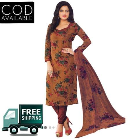 Vishnu Brown Color Crepe Printed Salwar Suit Dress Material