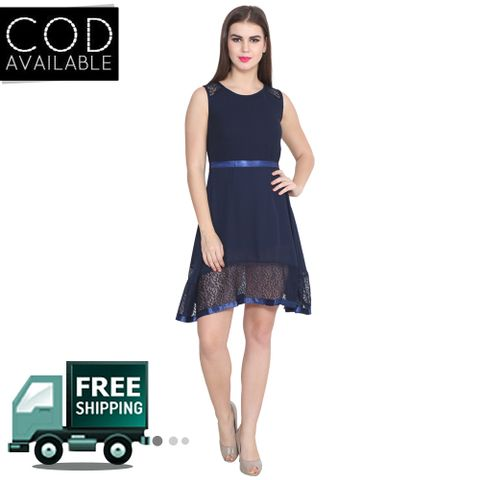 Lee Marc Navy Blue Solid Georgette Dress