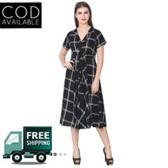 Lee Marc Black Checkered Cotton Dress