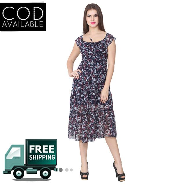 Lee Marc Black Printed Georgette Dress