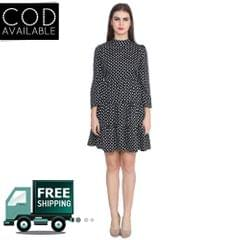 Lee Marc Black Polka Print Crepe Dress