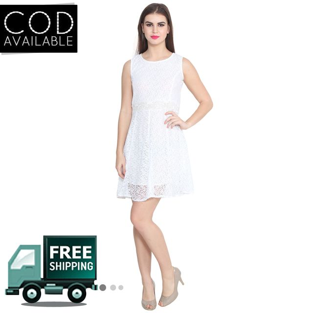 Lee Marc White Solid Georgette Dress