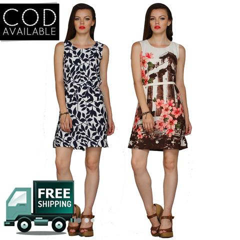 Fashion Shoppe Combo of 2 Women's Multicolor Midi