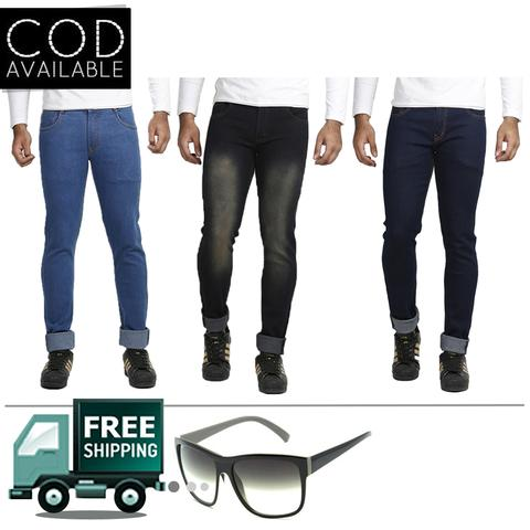Vrgin Combo Of 3 Men's Slim Fit Stretchable Trendy Jeans With Sunglass