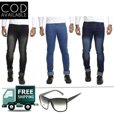 Vrgin Combo Of 3 Men's Slim Fit Stretchable Jeans With Accessories