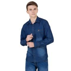 Real Cotton Men's Full Sleeve Dark Blue Denim Shirt