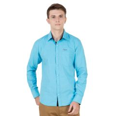 Real Cotton Men's Turquoise Coloured Cotton Shirt