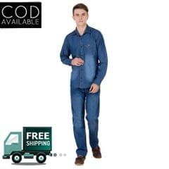 Real Cotton Men's Full Sleeve Light Blue Denim Shirt