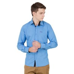 Real Cotton Men's Sky Blue Coloured Cotton Shirt