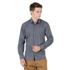 Real Cotton Men's Grey Coloured Cotton Shirt