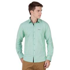 Real Cotton Men's Light Green Coloured Cotton Shirt