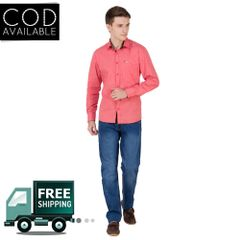 Real Cotton Men's Peach Coloured Cotton Shirt