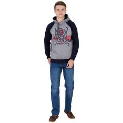 American-Elm Men's Grey-Blue Color Full Sleeve Hoodie