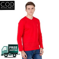 American-Elm Men's Red Color Full Sleeve Sweater
