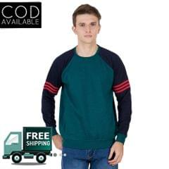 American-Elm Men's Green Color Full Sleeve Sweater